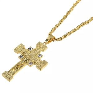 Other - Brand New Gold Crucifix Pendant Chain Necklace